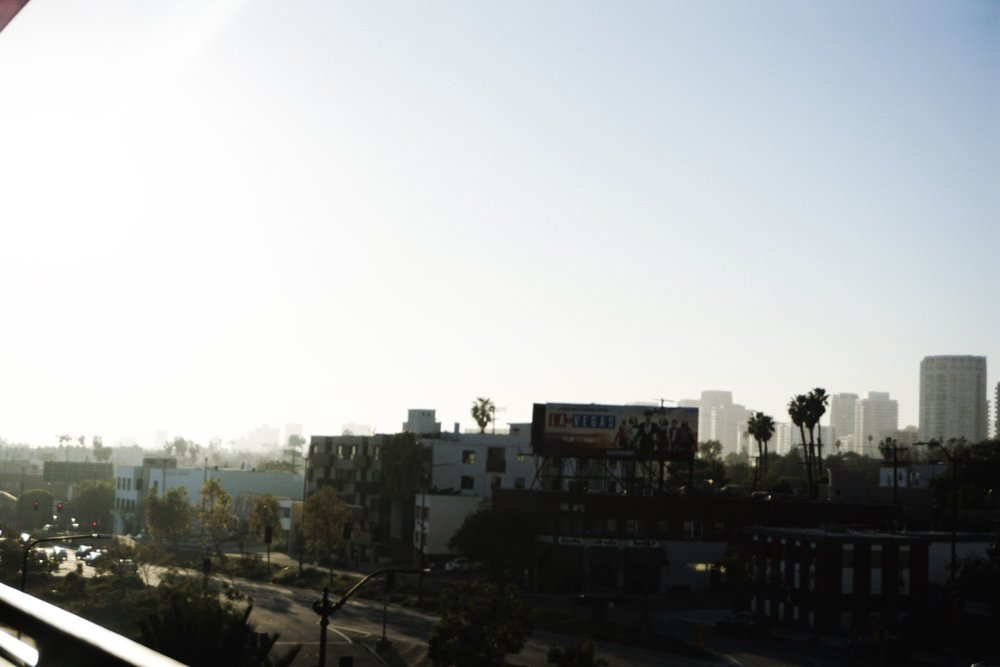 Caught this nice view of LA as we were walking out of Eately.
