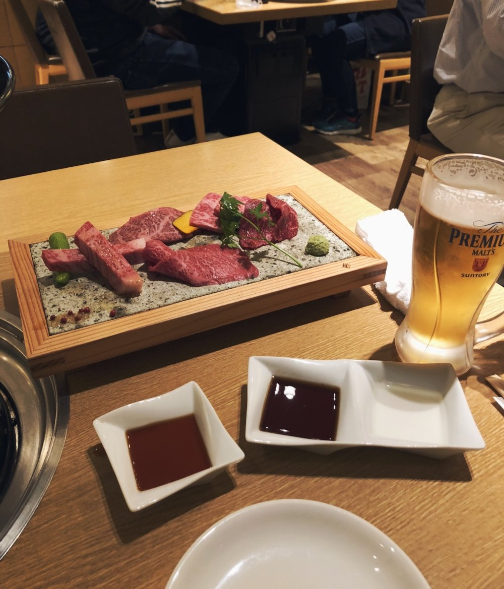 Dinner was fancy and memorable. We were craving meat and just steps away we found a restaurant that served premium Kobe beef. Just… exceptional. A small plate of marbled meats that we grilled at our table. We wished this meal never ended. So good, so tender, beef that melts in your mouth like butter. The cows are pampered so well, receive daily massages and are even fed beer to keep them happy lol. Ugh. Nothing like it really.