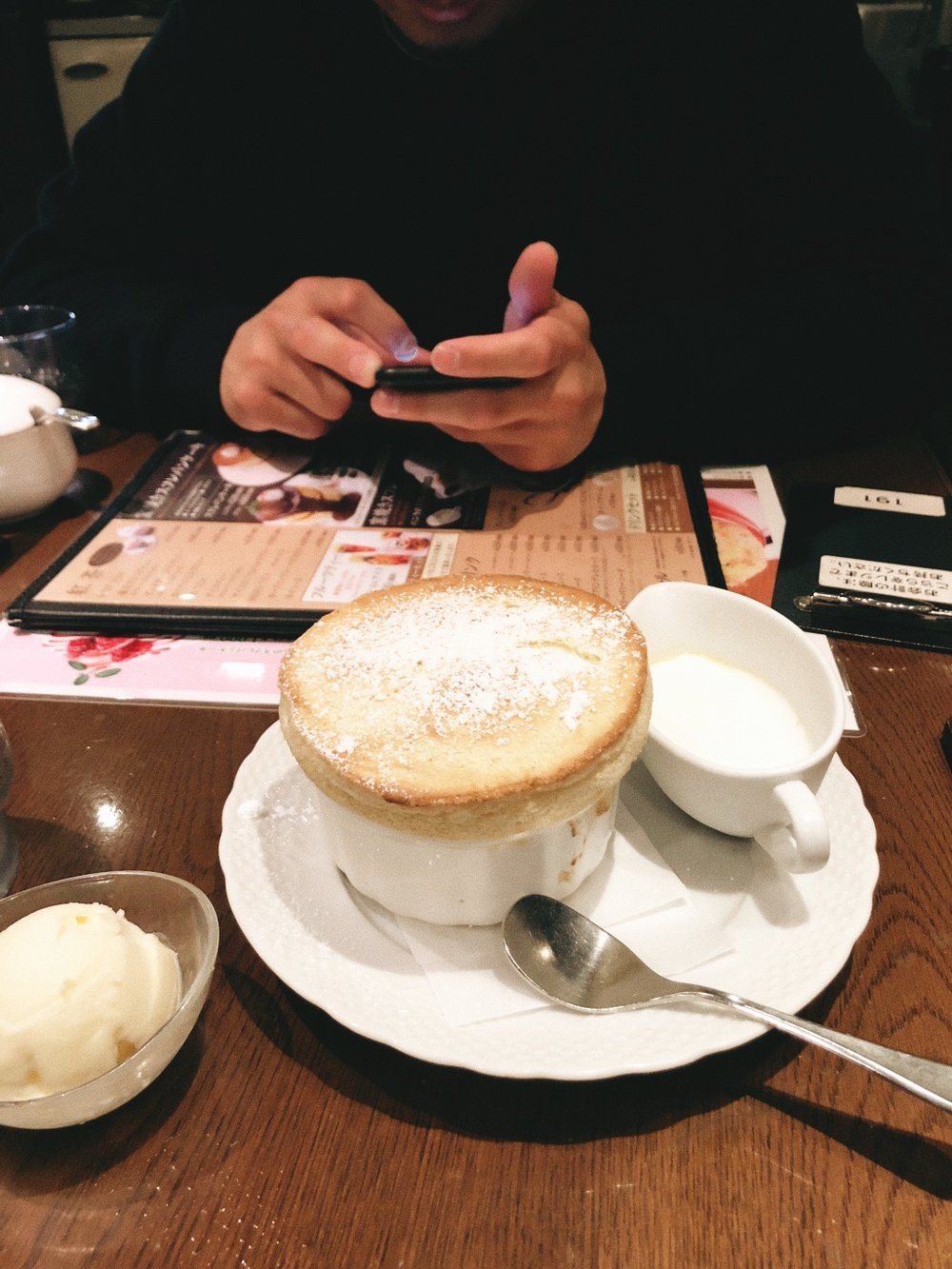 We were craving dessert and I surprisingly loved all of Japan's coffeeshops I went to on this trip. I wish I could've gone to more. I had this warm Japanese soufflé topped with vanilla cream which was delicate and not overly sweet.