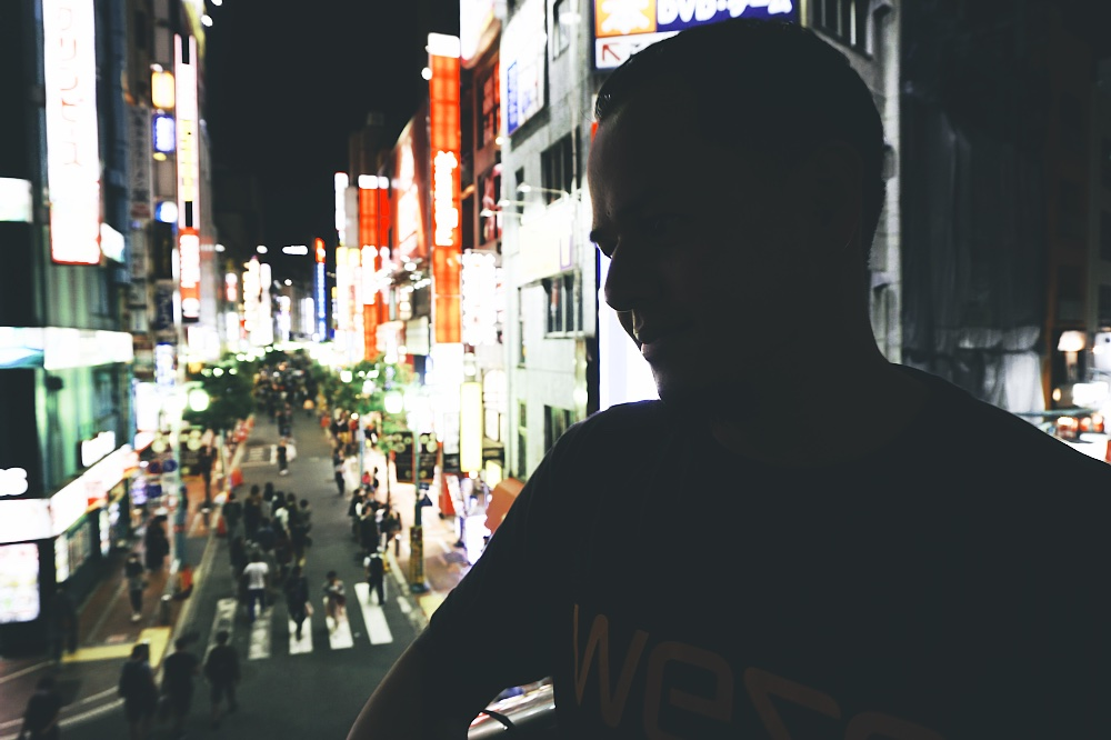 Artsy pic of Jay. We took the subway back to Shinjuku, ate some burgers lol, and I think did some more walking and shopping.