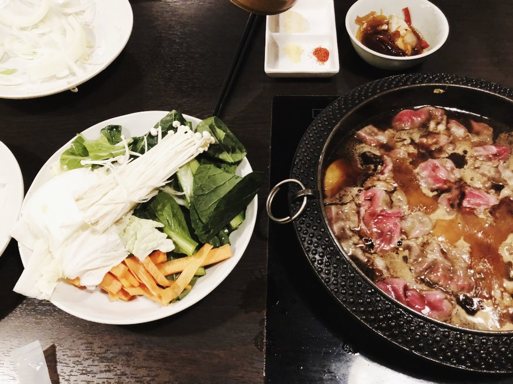 We walked back to Shinjuku and of course, more eating. Nabezo is a Shabu-Shabu/Sukiyaki restaraunt where you have boiling pots of seasoned broths in front of you and can put all the meat and veggies your heart desires. Jay and I loveddddd this meal. It was his first time trying Sukiyaki, and this one was also all you can eat and had a bar full of veggies and endless bowls of rice. We have yet to eat Shabu Shabu in Vegas, but once it starts getting cold, we're definitely eating more of this.